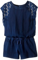 Splendid Littles Indigo Baby French Terry Romper w/ Lace Girl's Jumpsuit & Rompers One Piece