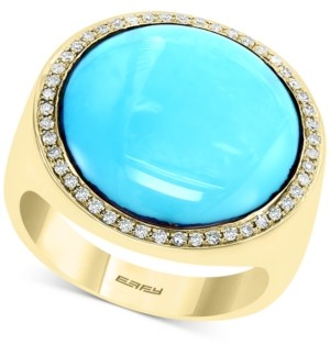 Effy Turquoise & Diamond (1/4 ct. t.w.) Statement Ring in 14k Gold
