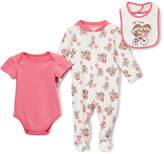 Baby Starters Hot Pink & Ivory Sock Monkey 'Best Friends' Footie Set - Infant
