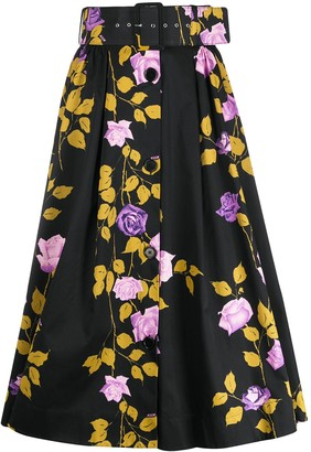 MSGM Floral-Print Belted Skirt