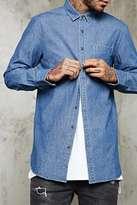 Forever 21 Slim-Fit Longline Denim Shirt