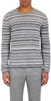 John Varvatos Men's Variegated-Stripe Linen Sweater