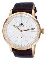 "Adee Kaye AK9044 Men's ""Vintage Slim"" Stainless Steel & Leather Mechanical Watch-Rose tone/White dial"