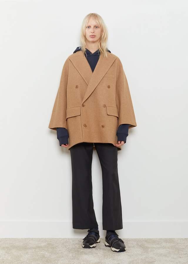 Y's Knit Melton Double Breasted Coat Beige