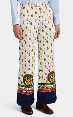 Gucci Men's Mermaid-Medallion Denim Wide-Leg Trousers