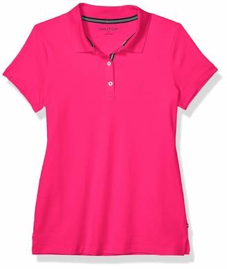 Nautica Women's 3-Button Short Sleeve Breathable 100% Cotton Polo Shirt