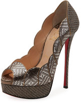 Christian Louboutin Torsatoe Scallop Platform Red Sole Pump, Gray