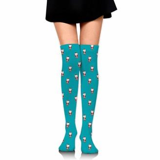 Wh Cla Long Socks Christmas Santa Claus Outdoor Long Socks Printed Thigh High Socks Girls Dress Over Knee High Boot Sock Over Knee Leg Warmers Compression Socks Novelty Casual Womens Cos