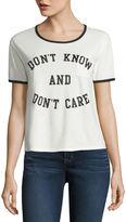 Fifth Sun Short Sleeve Scoop Neck Graphic Ivory Vintage Black Ringer T-Shirt