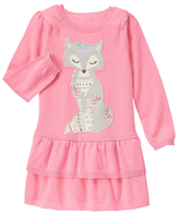 Gymboree Sunkist Coral Fox in Scarf Sweater Dress - Girls