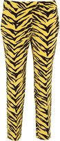 Moschino Tiger-print crepe straight-leg pants