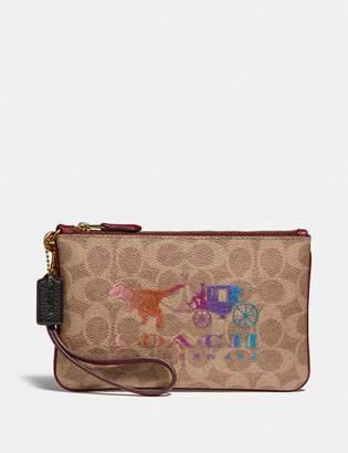 Coach Small Wristlet In Signature Canvas With Rexy And Carriage