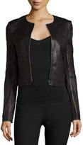 Elizabeth and James Helen Fitted Cropped Leather Jacket, Black