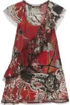 Roberto Cavalli Tiered Ruffled Printed-Silk Top