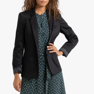 Naf Naf Stretch Cotton Fitted Blazer with Single-Breasted Buttons