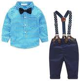 JELEUON Baby Boys Toddler 2 Pcs Plaid Bow Tie Shirt + Suspenders Pants Gentleman Outfits 6-12 Months