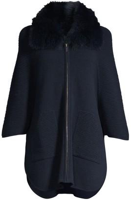 Sofia Cashmere Fox-Fur Collar Ottoman Ribbed Cashmere Cardigan