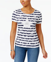 Karen Scott Cotton Striped Star Graphic T-Shirt, Only at Macy's