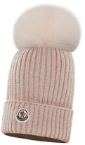 Moncler Kids' Berretto Ribbed-Knit Beanie Hat w/ Fur Pompom