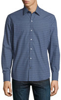 Zachary Prell Dot-Print Long-Sleeve Sport Shirt, Navy