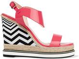 Nicholas Kirkwood Leda raffia-trimmed patent-leather platform sandals