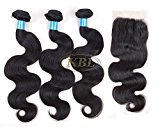 """KBL 5A Brazilian Body Wave 3 Bundles with 4x4 Lace Closure Three Way Part 150% Density Virgin Human Hair Weaving Extensions Natural Black (3x28"""" hair weft+18"""" lace closure)"""