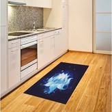 """Blue Area Lotus with Dew Drops Reflected Indigo Rug East Urban Home Rug Size: Rectangle 2'7"""" x 5'"""