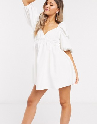 In The Style x Lorna Luxe extreme puff sleeve babydoll dress in white