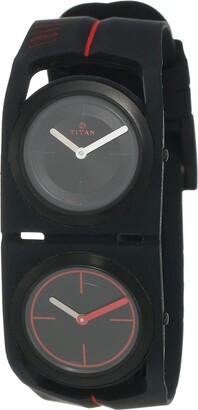 Titan Men's 'Edge Sport Dual Time' Quartz Rubber and Silicone Watch Color:Black (Model: 1653NP02)