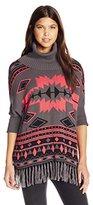 Derek Heart Junior's Aztec Jacquard Dolman Cowl Neck Poncho Sweater