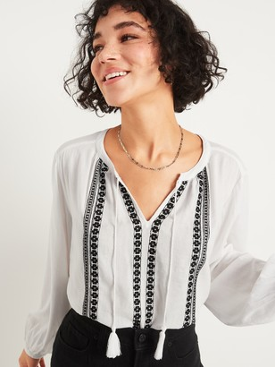 Old Navy Oversized Embroidered Tie-Neck Blouse for Women