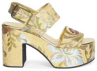 Dries Van Noten Floral Jacquard Platform Slingback Sandals