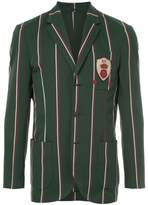 Kent & Curwen crest detail striped blazer