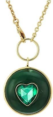 Sole Society SOLE / SOCIETY 32 Heart Medallion Pendant (12K Soft Polish Gold/Green Aventurine/Emerald) Necklace