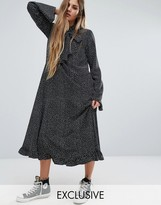 Reclaimed Vintage Flare Sleeve Maxi Dress In Spot