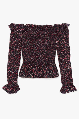 Nasty Gal Womens Spring Vacation Floral Plus Top - Navy - 18