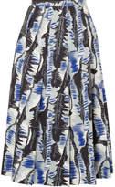 Marni Pleated Printed Cotton-poplin Midi Skirt - Blue