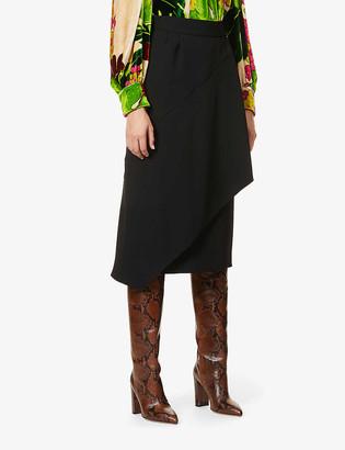 Dries Van Noten High-waisted crepe midi skirt
