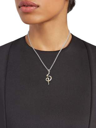 Effy Sterling Silver, 18K Yellow Gold, White Diamond & Blue Sapphire Snake Pendant Necklace