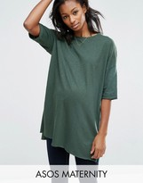 Asos Longline T-Shirt with Side Split in Textured Jersey