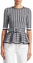 Oscar de la Renta Checked Wool Peplum Top