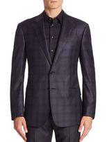Giorgio Armani Soft Model Slate Check Sport Coat