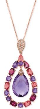 "LeVian Le Vian Multi-Gemstone (15-1/2 ct. t.w.) & Diamond Accent 20"" Pendant Necklace in 14k Rose Gold"