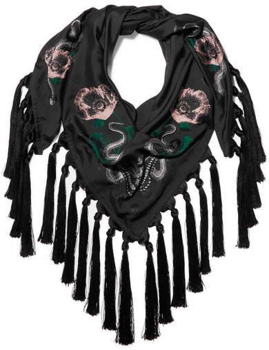 Alexander McQueen Tasseled Silk-blend Jacquard Scarf - Black