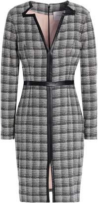 Carolina Herrera Faux Leather-trimmed Wool-blend Jacquard Dress