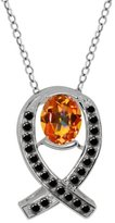 Gem Stone King 2.04 Ct Oval Ecstasy Mystic Topaz Black Diamond 18K White Gold Pendant
