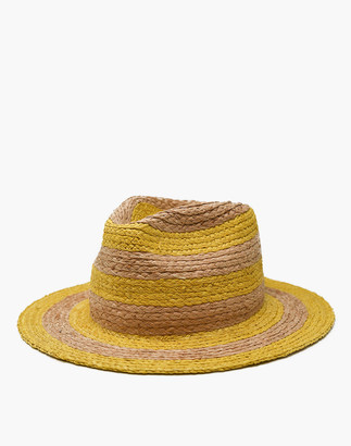 Madewell WYETH Striped Straw Isa Fedora Hat