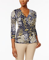 Charter Club Petite Geo-Print Faux-Wrap Top, Only At Macy's