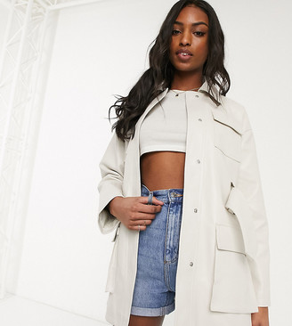 Asos DESIGN Tall four pocket belted faux leather jacket in white