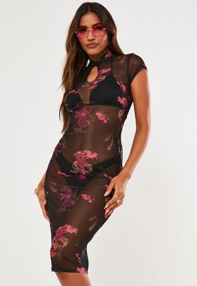 Missguided Black Mesh Mandarin Collar Keyhole Midi Dress
